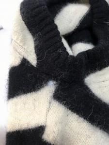 バーバリーブルーレーベル Burberry Blue Label 半袖セーター サイズ38 M レディース 黒×アイボリー ボーダー【中古】