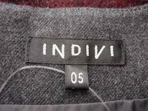 インディビ INDIVI ワンピース サイズ05 XS レディース 美品 ダークグレー×グレー×ボルドー ボーダー【中古】