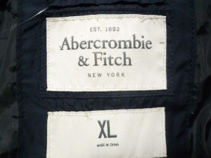 アバクロンビーアンドフィッチ Abercrombie&Fitch ダウンコート サイズXL メンズ ネイビー 冬物【中古】