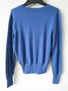 ハナエモリ HANAE MORI 長袖セーター サイズM レディース ブルー×ブラウン×マルチ カシミヤ/シルク/蝶柄【中古】