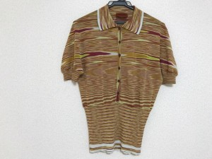 ミッソーニ MISSONI 半袖セーター サイズ46 L レディース 美品 ブラウン×ボルドー×ライトグリーン【中古】