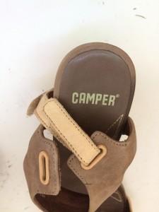 カンペール CAMPER サンダル 38 レディース ベージュ×ブラウン ウェッジソール ヌバック【中古】