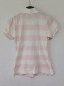 バーバリーブルーレーベル Burberry Blue Label 半袖ポロシャツ サイズ38 M レディース 白×ピンク ボーダー【中古】