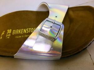 ビルケンシュトック BIRKEN STOCK サンダル 38245 レディース シルバー PVC(塩化ビニール)【中古】