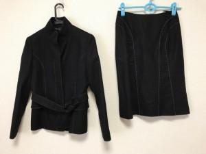 イネド INED スカートスーツ サイズ9 M レディース 美品 黒 ステッチ【中古】