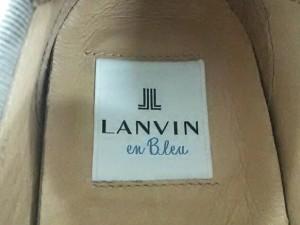 ランバンオンブルー LANVIN en Bleu スリッポン 22 1/2 レディース シルバー 編み込み レザー【中古】