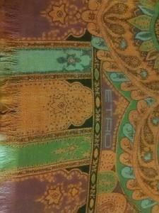エトロ ETRO ストール(ショール) 美品 ブラウン×マルチ ペイズリー柄 ウール×シルク【中古】