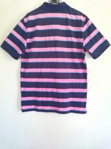 ブルックスブラザーズ BrooksBrothers 半袖ポロシャツ サイズL メンズ ダークネイビー×ピンク×マルチ ボーダー【中古】