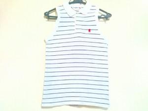 ジムフレックス Gymphlex ノースリーブポロシャツ サイズ12 L レディース 美品 白×ダークネイビー ボーダー【中古】