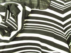 オースチンリード Austin Reed 半袖カットソー レディース 黒×白 フラワー/フリル/ボーダー【中古】