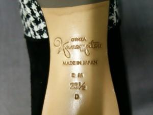 ギンザカネマツ GINZA Kanematsu パンプス 23 1/2 D レディース 白×黒 ラインストーン スエード×コットン【中古】