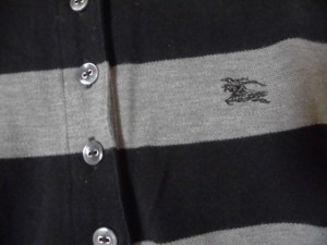 バーバリーブルーレーベル Burberry Blue Label 半袖ポロシャツ サイズ38 M レディース 黒×グレー×白 ボーダー【中古】