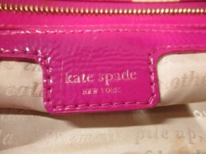 ケイトスペード Kate spade ショルダーバッグ ピンクパープル×ベージュ リボン ナイロン×エナメル(レザー)【中古】