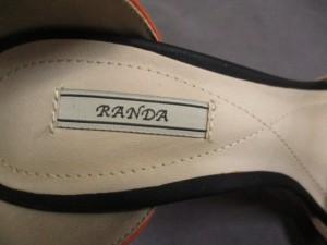 ランダ RANDA パンプス M レディース オレンジ×ベージュ×黒 レザー【中古】