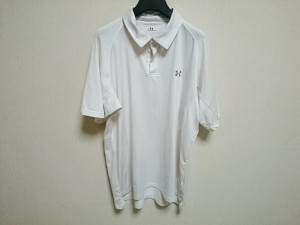 アンダーアーマー UNDER ARMOUR 半袖ポロシャツ サイズXL メンズ アイボリー×グレー ボーダー【中古】