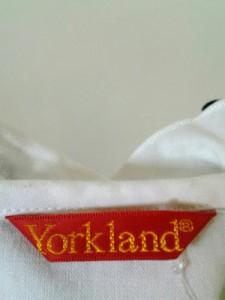 ヨークランド YORKLAND 七分袖カットソー サイズ9AR S レディース 白×ダークネイビー×ダークグリーン チェック柄/フリル【中古】