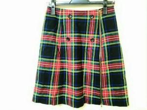 ヨークランド YORKLAND スカート サイズ9AR S レディース 美品 レッド×黒×グリーン×イエロー チェック柄【中古】