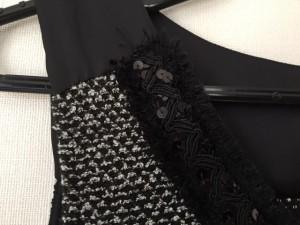 インディビ INDIVI ワンピース サイズ38 M レディース 美品 黒×白 ラメ/スパンコール【中古】