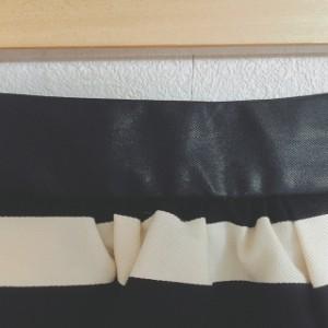 ロイスクレヨン Lois CRAYON スカート サイズM レディース 美品 黒×アイボリー ボーダー/ラメ【中古】