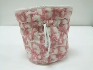 クリスチャンディオール ChristianDior ポーチ ロゴグラム 白×ピンク 巾着柄 パイル【中古】