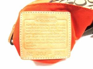 コーチ COACH ハンドバッグ シグネチャーデミポーチ 6094 カーキ×ライトブラウン ジャガード×レザー【中古】