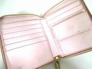 コーチ COACH 2つ折り財布 - ピンク ラウンドファスナー レザー【中古】