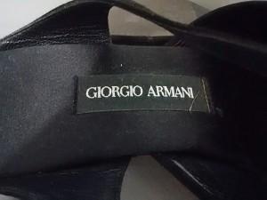 ジョルジオアルマーニ GIORGIOARMANI サンダル 35 1/2 レディース 黒 アウトソール張替済 スエード【中古】