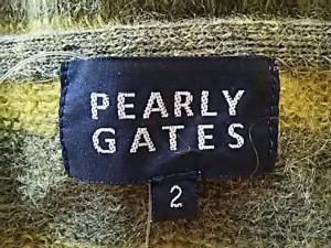 パーリーゲイツ PEARLY GATES 長袖セーター サイズ2 M レディース 美品 イエロー×グレー×黒 ボーダー【中古】
