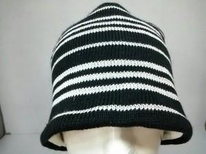 バーバリーブラックレーベル Burberry Black Label ニット帽 57-60 美品 ダークネイビー×ライトグレー ウール【中古】