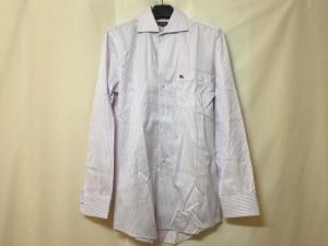 バーバリーブラックレーベル Burberry Black Label 長袖シャツ サイズ38 M メンズ 美品 アイボリー×パープル ストライプ/刺繍【中古】
