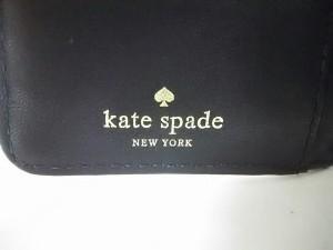 ケイトスペード Kate spade 3つ折り財布 アイボリー×黒 型押し加工 レザー【中古】