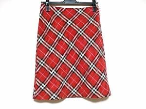 バーバリーブルーレーベル Burberry Blue Label スカート サイズ36 S レディース 美品 レッド×黒×アイボリー チェック柄【中古】