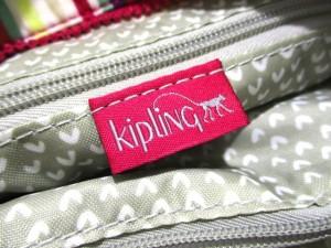 キプリング Kipling ハンドバッグ 美品 白×パープル×ピンク×マルチ ストライプ ナイロン【中古】