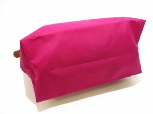 ロンシャン LONGCHAMP ショルダーバッグ 美品 ピンク×ブラウン 折りたたみ ナイロン×レザー【中古】