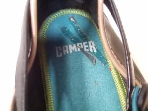 カンペール CAMPER シューズ 38 レディース 黒 レザー×エナメル(レザー)×ラバー【中古】
