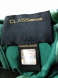 クラスロベルトカヴァリ チュニック サイズ4 XL レディース グリーン×黒×ネイビー 斜めストライプ/ラインストーン【中古】