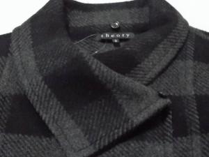 セオリー theory コート サイズ2 S レディース 黒×ダークグレー×グレー ショート丈/チェック柄/冬物【中古】