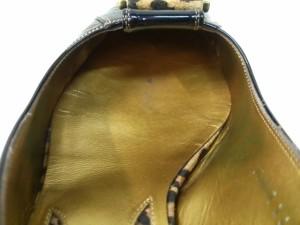 ギンザカネマツ GINZA Kanematsu サンダル 24D レディース 黒×ブラウン 豹柄 エナメル(レザー)×スエード【中古】