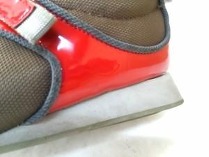 プリーツプリーズ PLEATS PLEASE スニーカー M レディース レッド×ダークブラウン×グレー エナメル(レザー)×化学繊維【中古】