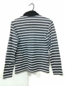 バーバリーゴルフ BURBERRYGOLF 長袖ポロシャツ サイズM レディース アイボリー×黒 ボーダー【中古】
