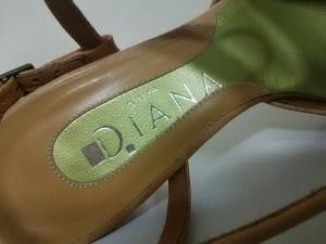ダイアナ DIANA サンダル 23 1/2 レディース ライトブラウン×クリア レザー×ラインストーン【中古】