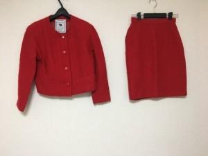 クイーンズコート QUEENS COURT スカートスーツ サイズ9 M レディース レッド 肩パッド【中古】