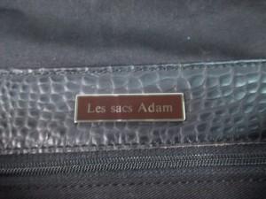 ルサックアダム LES SACS ADAM ハンドバッグ 黒 型押し加工 レザー【中古】