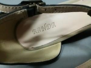 ランダ RANDA サンダル LL レディース 黒×ベージュ フラワー スエード【中古】