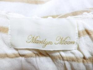 マリリンムーン MARILYN MOON 半袖カットソー レディース 白×ブラウン ボーダー【中古】