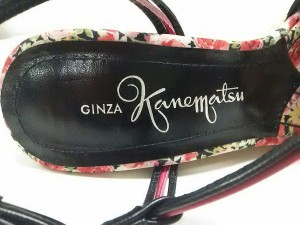 ギンザカネマツ GINZA Kanematsu サンダル 23 D レディース 黒×ピンク ウェッジソール/リボン レザー×ストロー【中古】