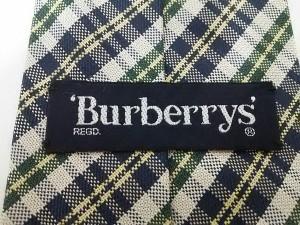 バーバリーズ Burberry's ネクタイ メンズ 美品 アイボリー×グリーン×ネイビー チェック柄【中古】