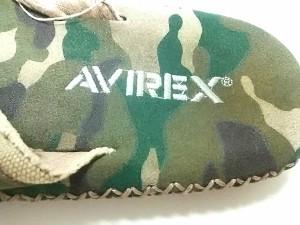 アビレックス AVIREX ビーチサンダル メンズ アイボリー×カーキ×ベージュ 迷彩柄 キャンバス×レザー【中古】