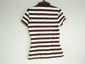 ラコステ Lacoste 半袖ポロシャツ サイズ36 S レディース 白×ダークブラウン ボーダー【中古】