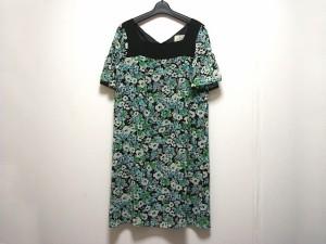 クミキョク 組曲 KUMIKYOKU ワンピース サイズ3 L レディース 黒×グリーン×ライトグレー 花柄【中古】